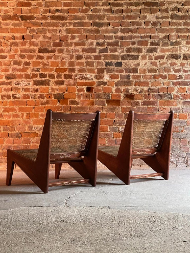 Mid-Century Modern Pierre Jeanneret Model: CH010607 Kangourou Low Chairs Teak and Cane, Chandigarh