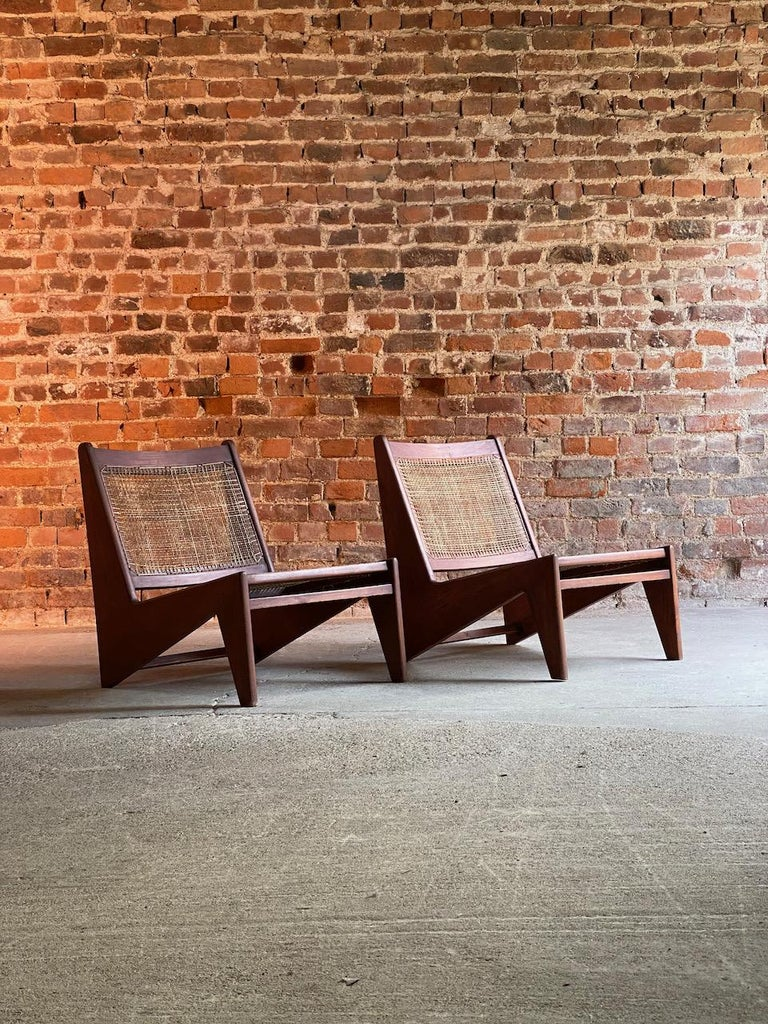 Indian Pierre Jeanneret Model: CH010607 Kangourou Low Chairs Teak and Cane, Chandigarh