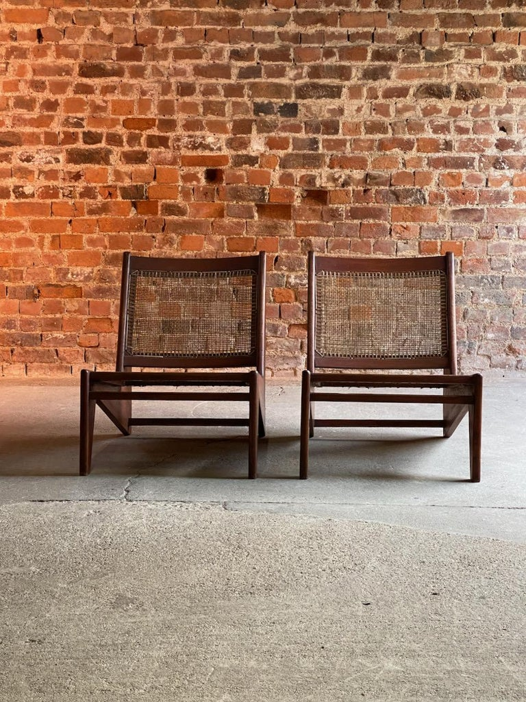 Pierre Jeanneret Model: CH010607 Kangourou Low Chairs Teak and Cane, Chandigarh In Good Condition In Longdon, Tewkesbury
