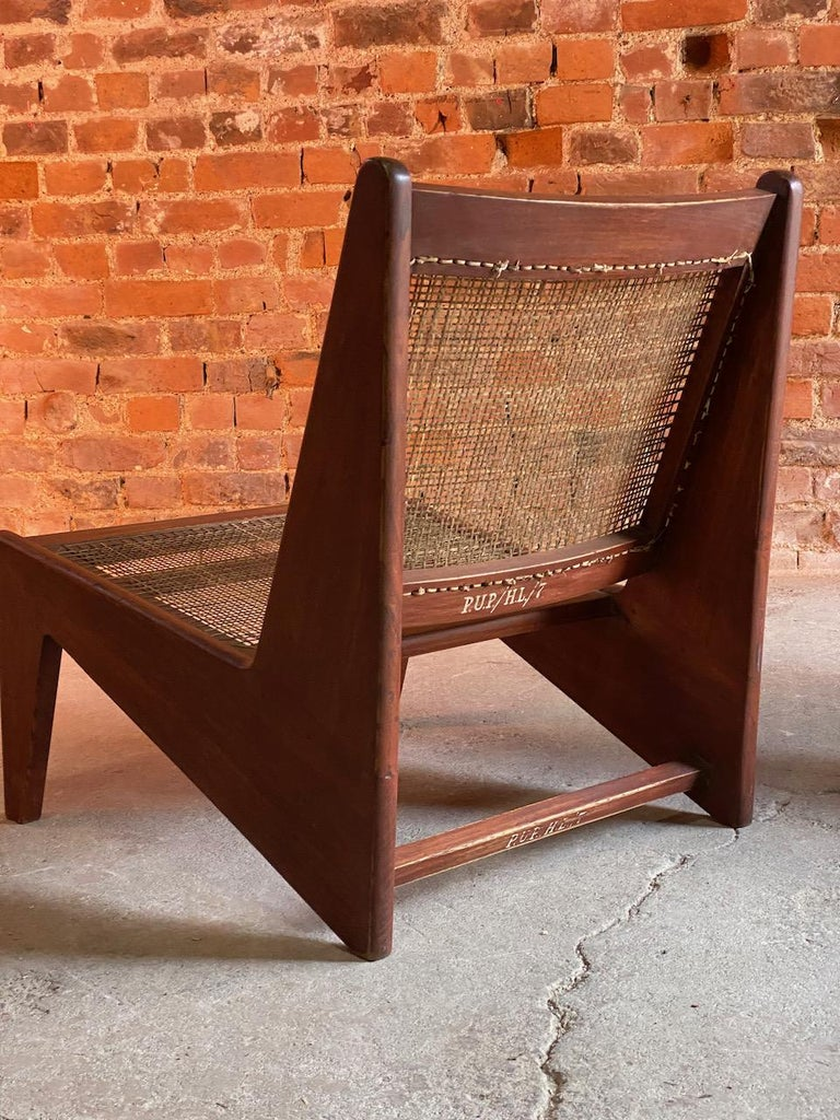 Contemporary Pierre Jeanneret Model: CH010607 Kangourou Low Chairs Teak and Cane, Chandigarh