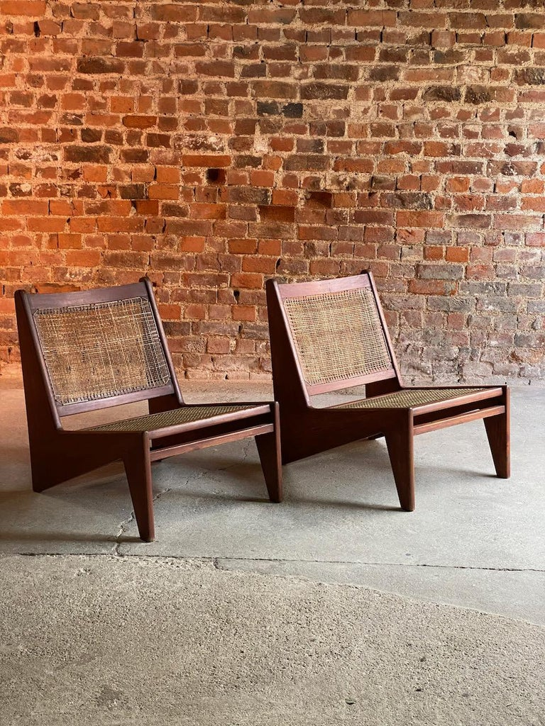 Pierre Jeanneret Model: CH010607 Kangourou Low Chairs Teak and Cane, Chandigarh 1