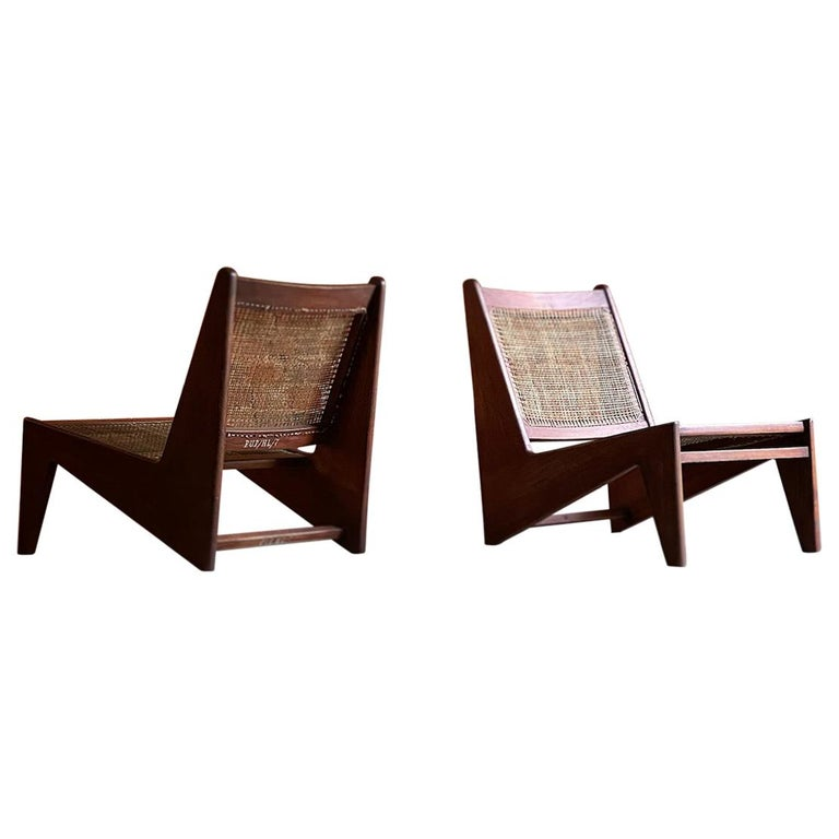 Pierre Jeanneret Model: CH010607 Kangourou Low Chairs Teak and Cane, Chandigarh