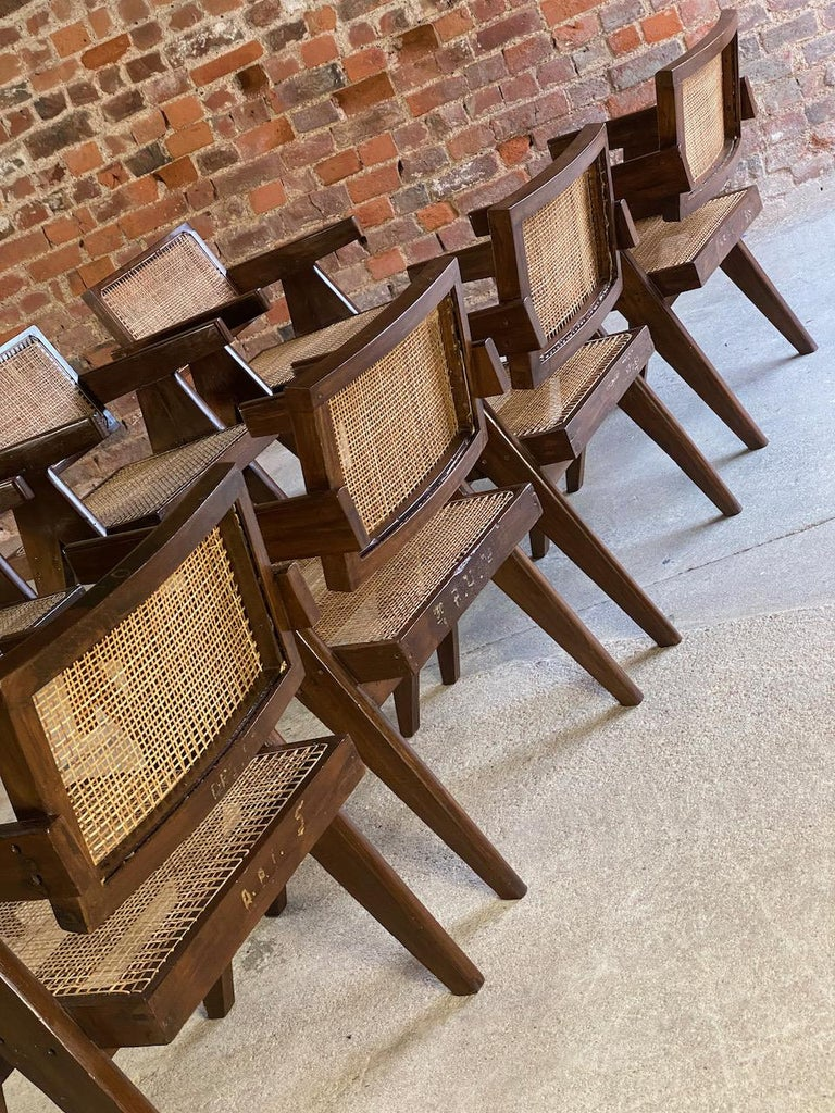 Pierre Jeanneret Model PJ-SI-28-A Floating Back Office Chairs Set of 8 1955 For Sale 6