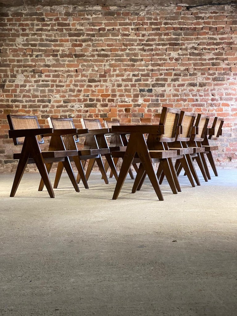 Pierre Jeanneret Model PJ-SI-28-A Floating Back Office Chairs Set of 8 1955 For Sale 7