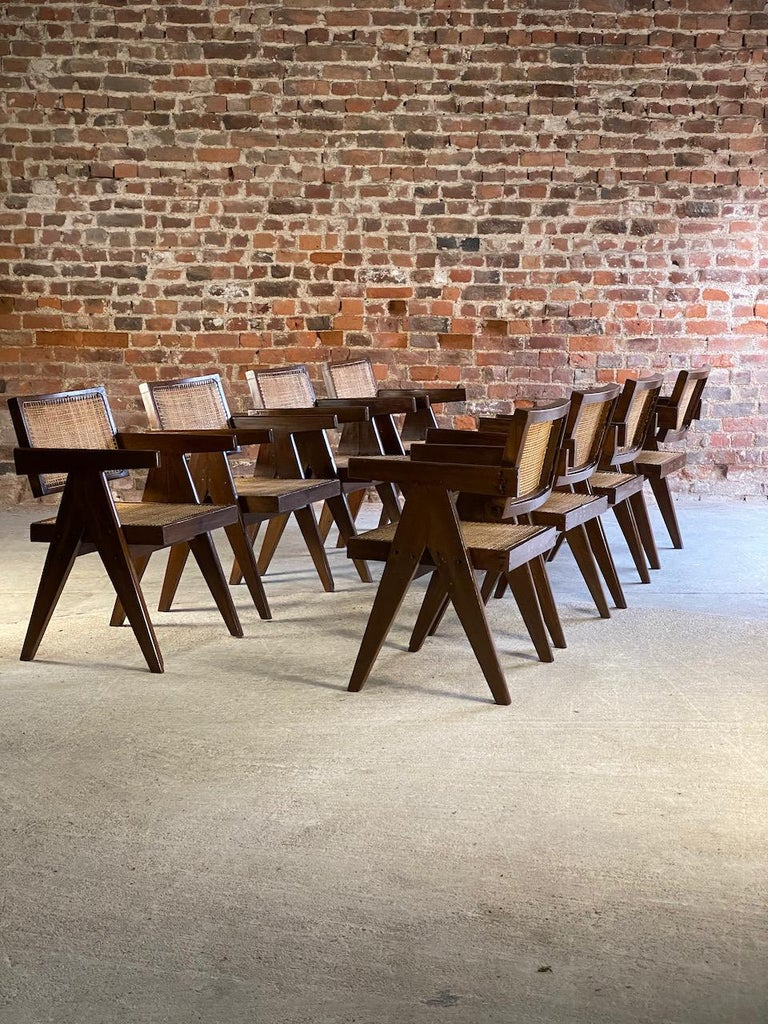 Pierre Jeanneret Model PJ-SI-28-A Floating Back Office Chairs Set of 8 1955 For Sale 8
