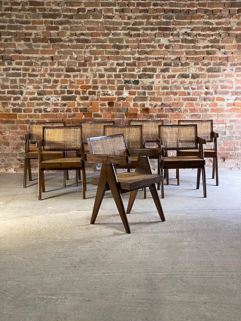 Pierre Jeanneret Model PJ-SI-28-A Floating Back Office Chairs Set of 8 1955 For Sale 9