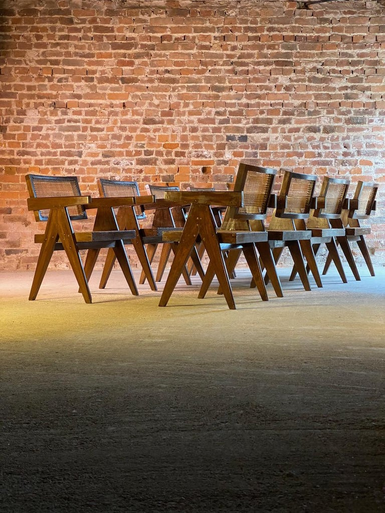 Pierre Jeanneret Model PJ-SI-28-A Floating Back Office Chairs Set of 8 1955 For Sale 10