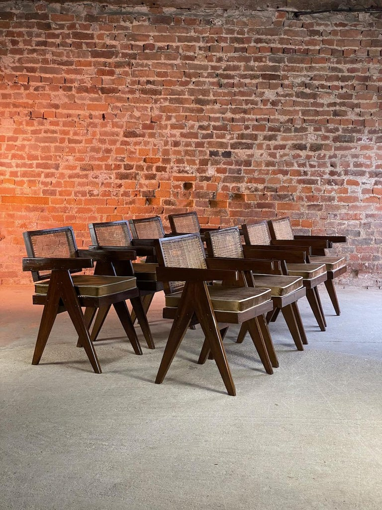 Mid-Century Modern Pierre Jeanneret Model PJ-SI-28-A Floating Back Office Chairs Set of 8 1955 For Sale