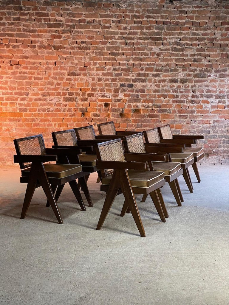 Indian Pierre Jeanneret Model PJ-SI-28-A Floating Back Office Chairs Set of 8 1955 For Sale