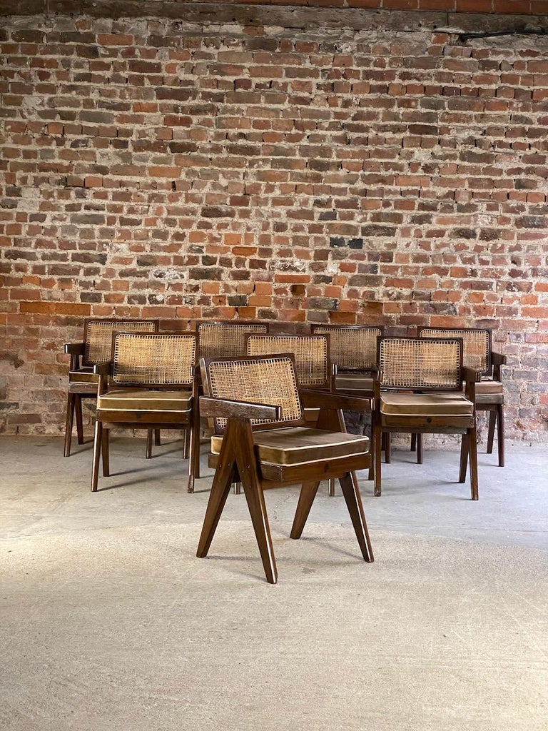 Pierre Jeanneret Model PJ-SI-28-A Floating Back Office Chairs Set of 8 1955 In Good Condition For Sale In Longdon, Tewkesbury
