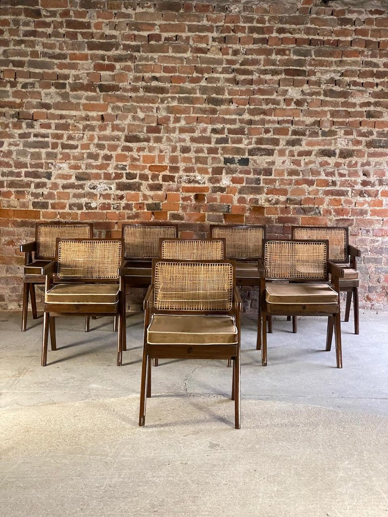 20th Century Pierre Jeanneret Model PJ-SI-28-A Floating Back Office Chairs Set of 8 1955 For Sale