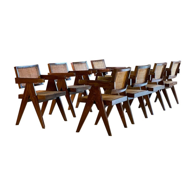 Pierre Jeanneret Model PJ-SI-28-A Floating Back Office Chairs Set of 8 1955 For Sale