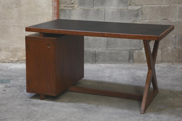 Pierre Jeanneret Office Administrative X-Leg Desk with Black Leather Inset 2