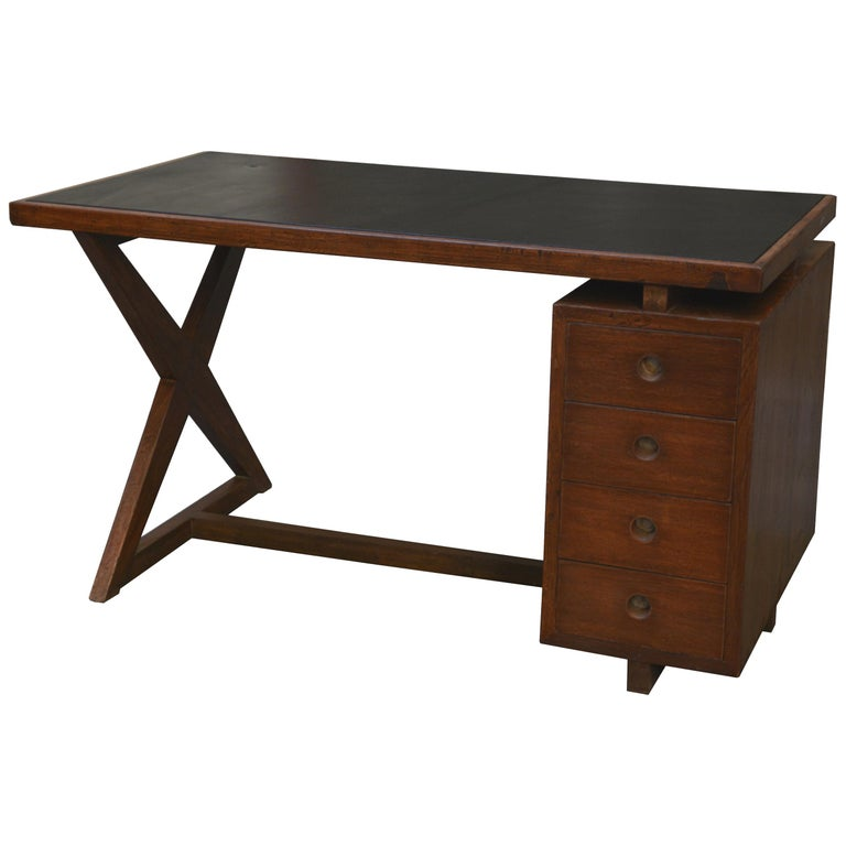 Pierre Jeanneret Office Administrative X-Leg Desk with Black Leather Inset 1