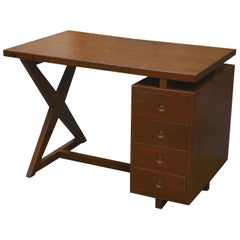 Pierre Jeanneret Office Administrative X-Leg Desk with Teak Top