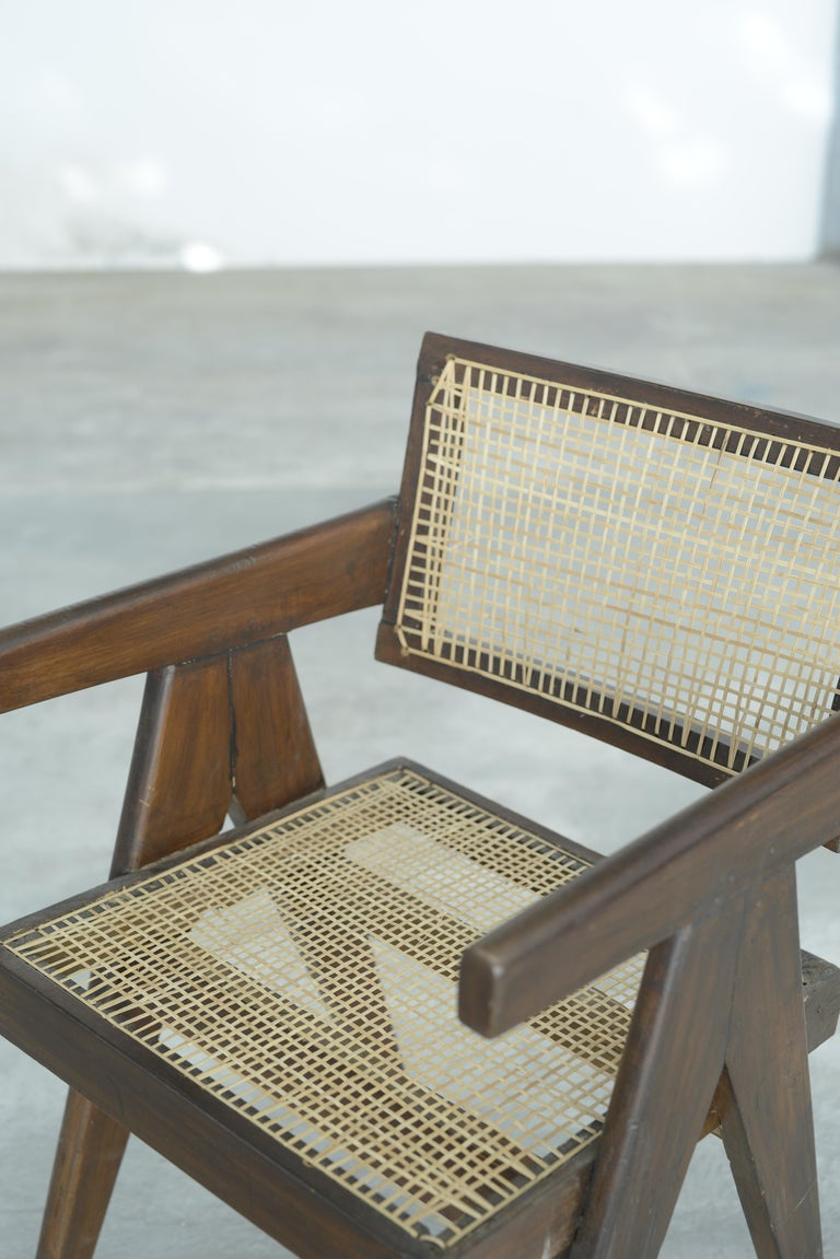 Pierre Jeanneret Office Cane Chair | Authentic Mid-Century Modern PJ-SI-28-A For Sale 6