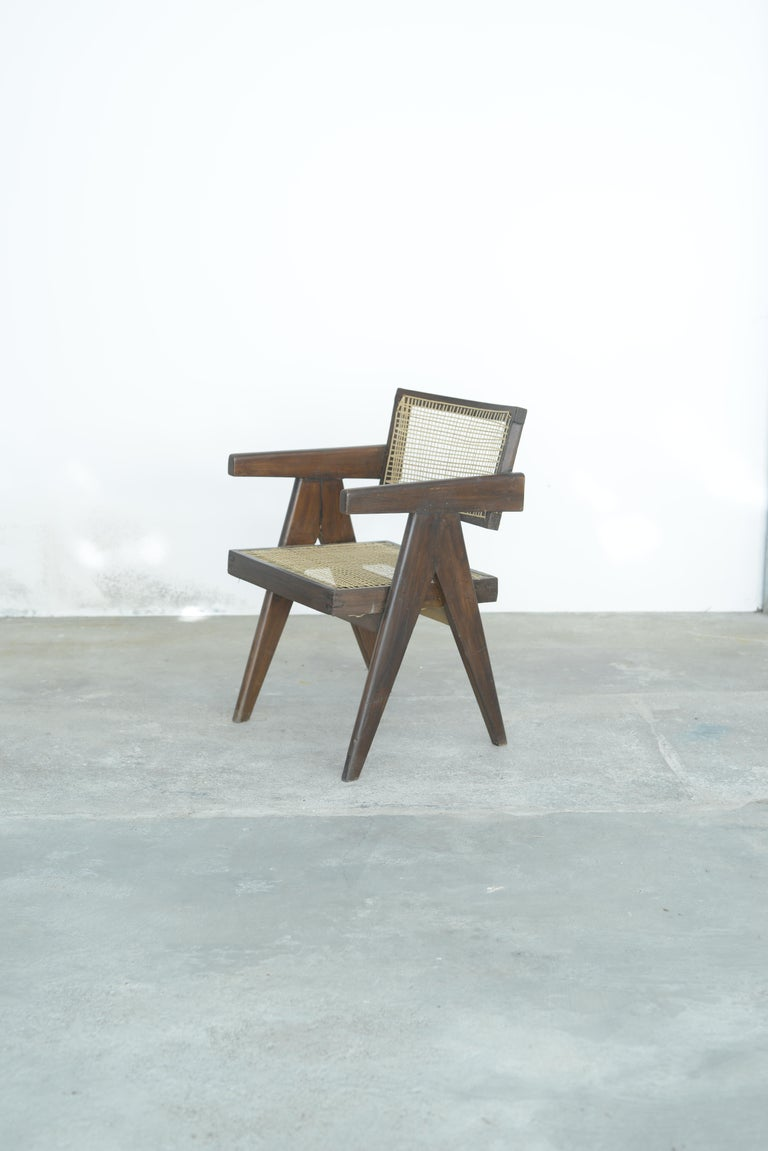Indian Pierre Jeanneret Office Cane Chair | Authentic Mid-Century Modern PJ-SI-28-A For Sale