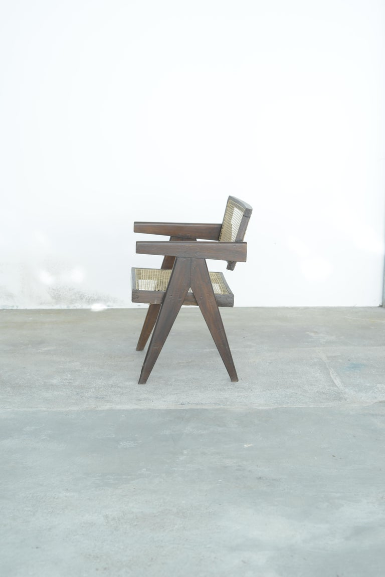 Pierre Jeanneret Office Cane Chair | Authentic Mid-Century Modern PJ-SI-28-A In Good Condition For Sale In Dietikon, CH