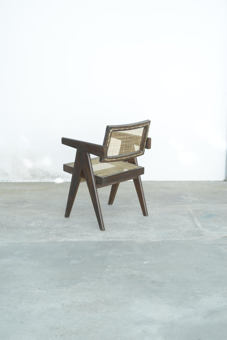 Mid-20th Century Pierre Jeanneret Office Cane Chair | Authentic Mid-Century Modern PJ-SI-28-A For Sale