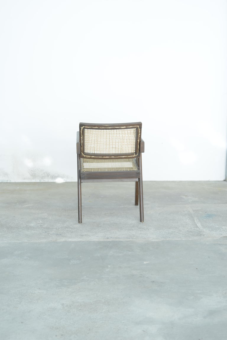 Pierre Jeanneret Office Cane Chair | Authentic Mid-Century Modern PJ-SI-28-A For Sale 1