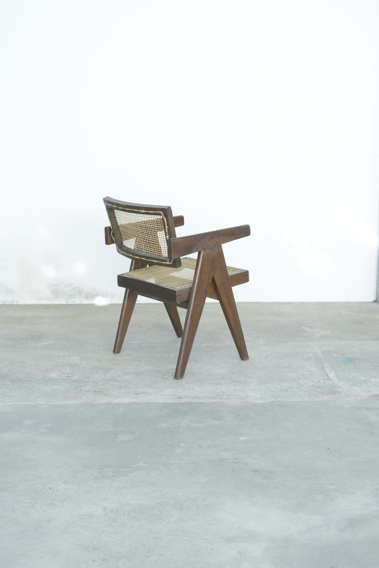 Pierre Jeanneret Office Cane Chair | Authentic Mid-Century Modern PJ-SI-28-A For Sale 2