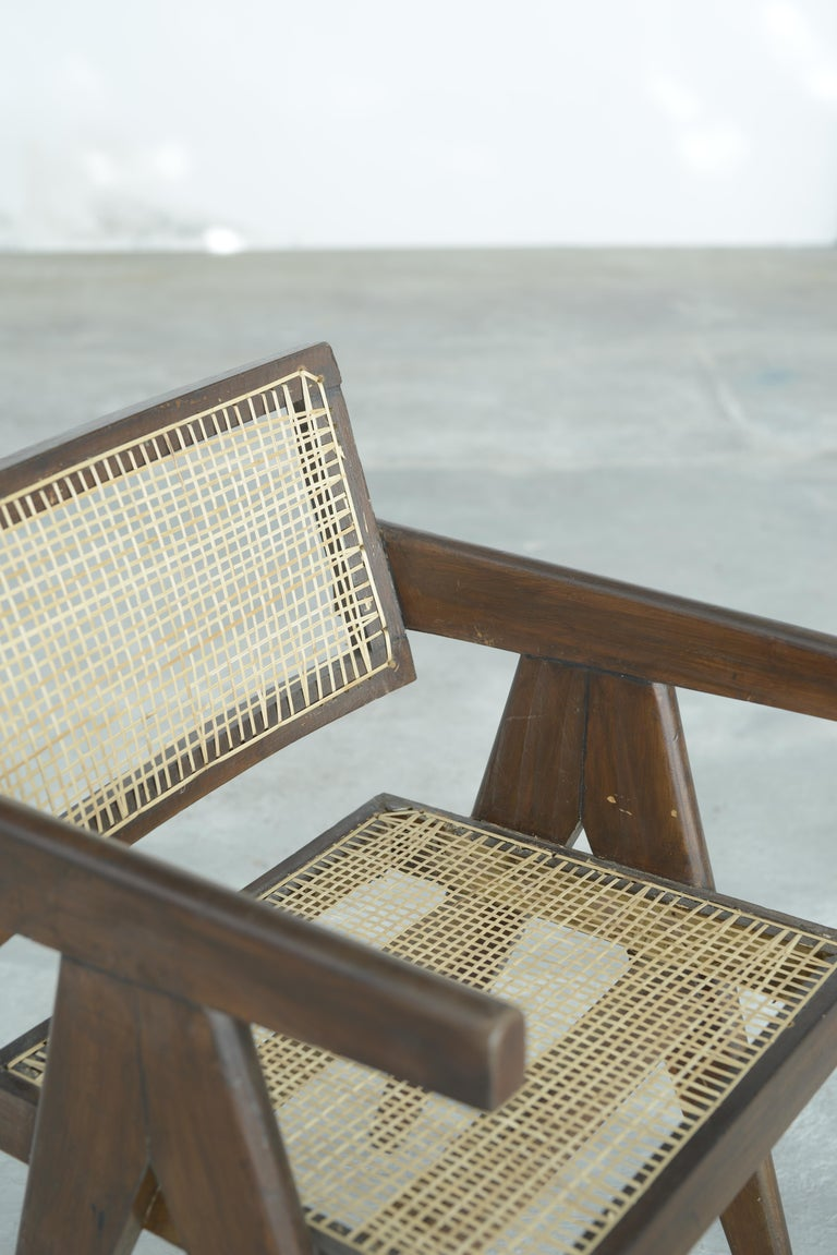 Pierre Jeanneret Office Cane Chair | Authentic Mid-Century Modern PJ-SI-28-A For Sale 4