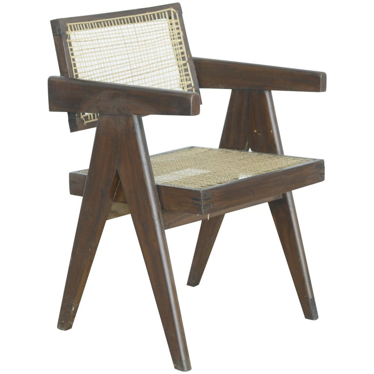 Pierre Jeanneret Office Cane Chair | Authentic Mid-Century Modern PJ-SI-28-A For Sale