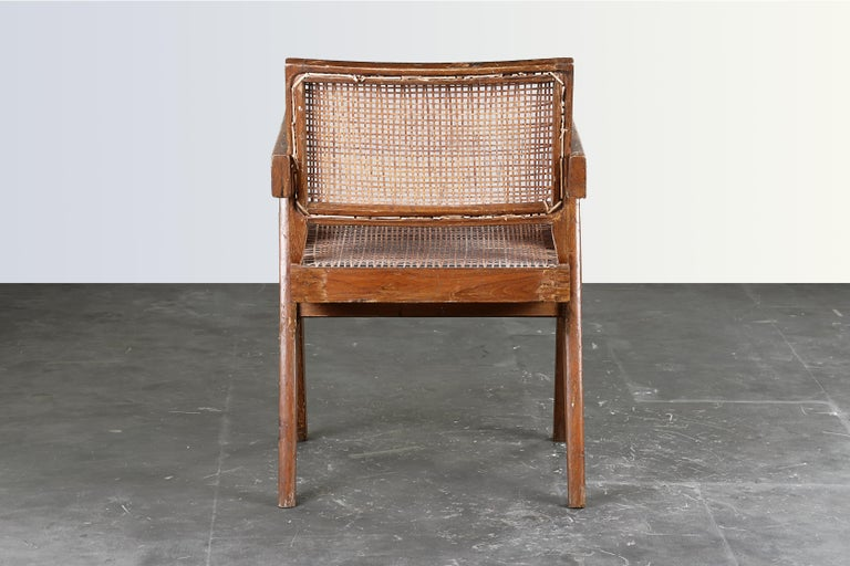 Mid-Century Modern Pierre Jeanneret Office Cane Chair / Authentic Mid-Century Chandigarh PJ-SI-28-B
