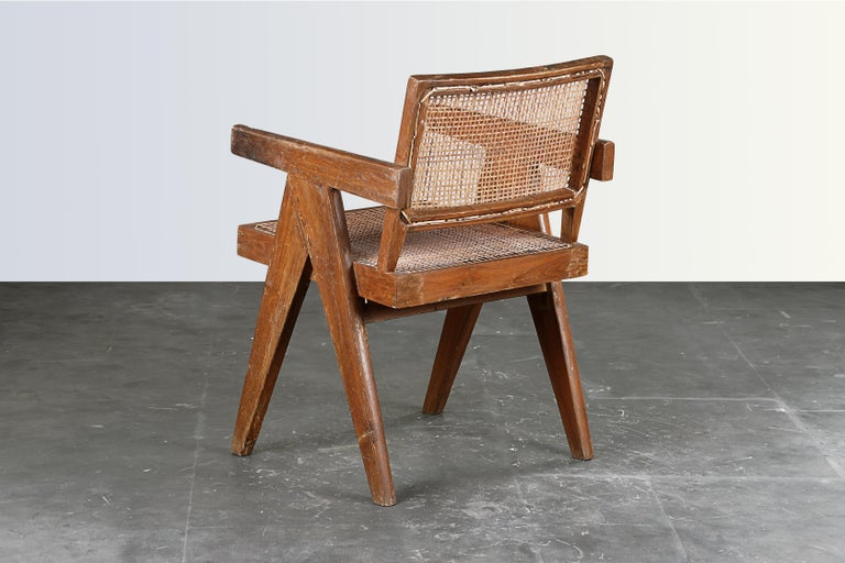 Indian Pierre Jeanneret Office Cane Chair / Authentic Mid-Century Chandigarh PJ-SI-28-B