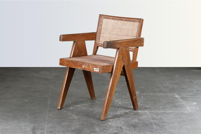 Pierre Jeanneret Office Cane Chair / Authentic Mid-Century Chandigarh PJ-SI-28-B In Good Condition In Dietikon, CH