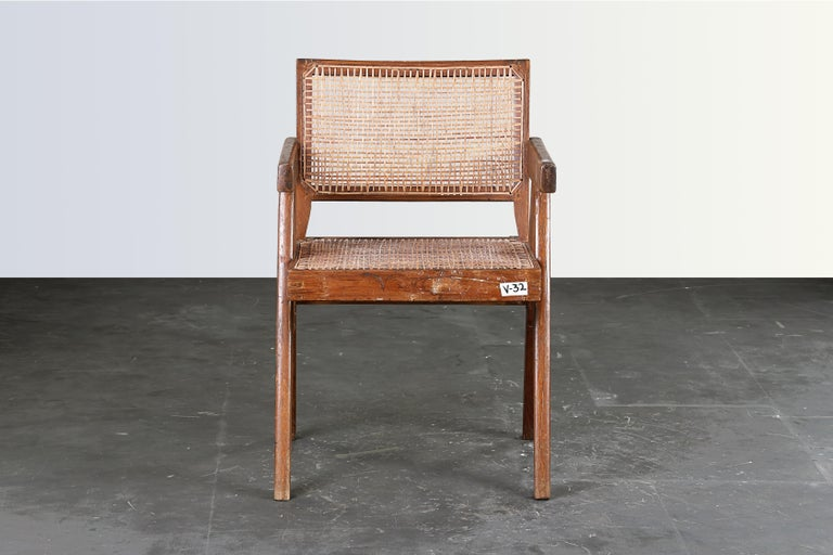 Mid-20th Century Pierre Jeanneret Office Cane Chair / Authentic Mid-Century Chandigarh PJ-SI-28-B