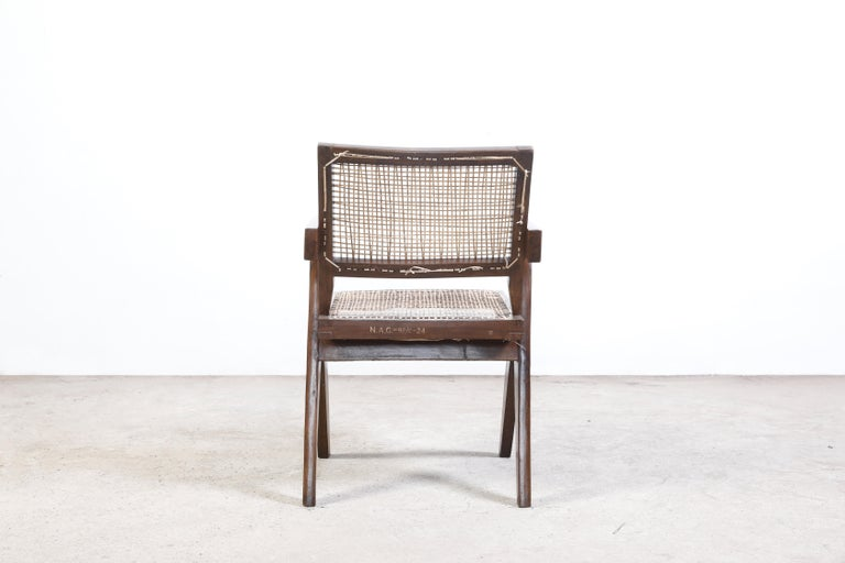 Indian Pierre Jeanneret Office Cane Chair Authentic Mid-Century Modern Chandigarh For Sale