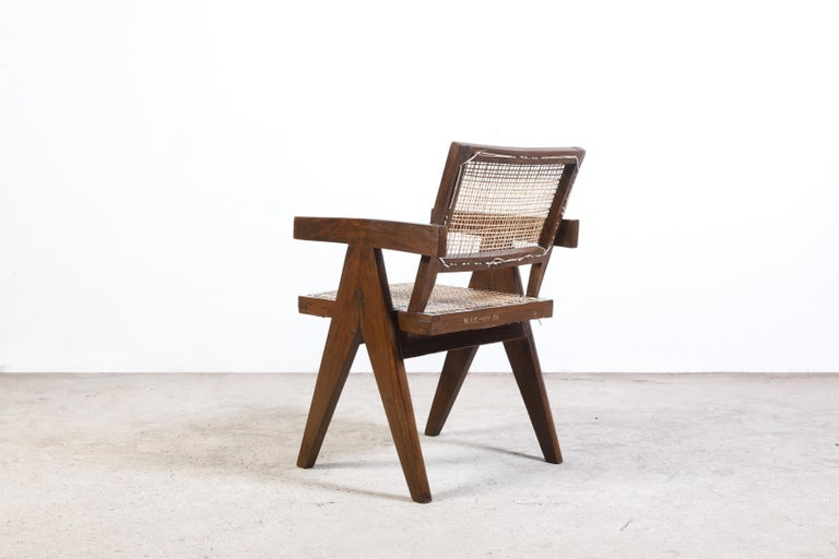 Pierre Jeanneret Office Cane Chair Authentic Mid-Century Modern Chandigarh In Good Condition For Sale In Dietikon, CH