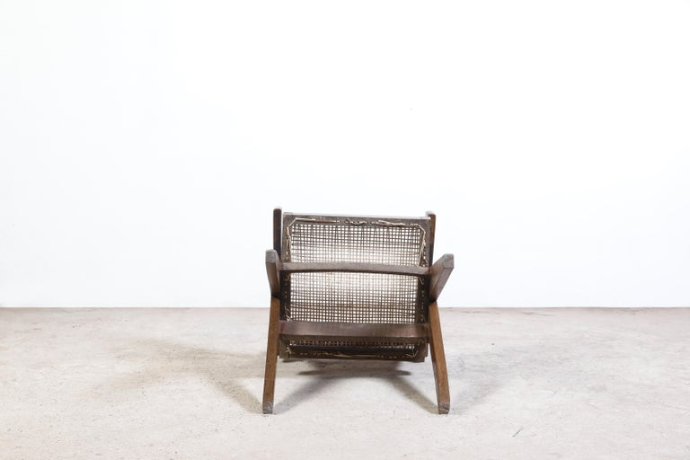 20th Century Pierre Jeanneret Office Cane Chair Authentic Mid-Century Modern Chandigarh For Sale
