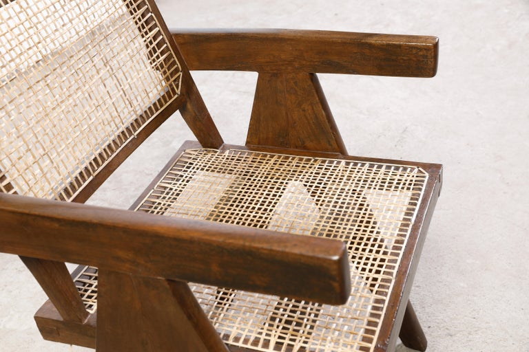 Pierre Jeanneret Office Cane Chair Authentic Mid-Century Modern Chandigarh For Sale 1