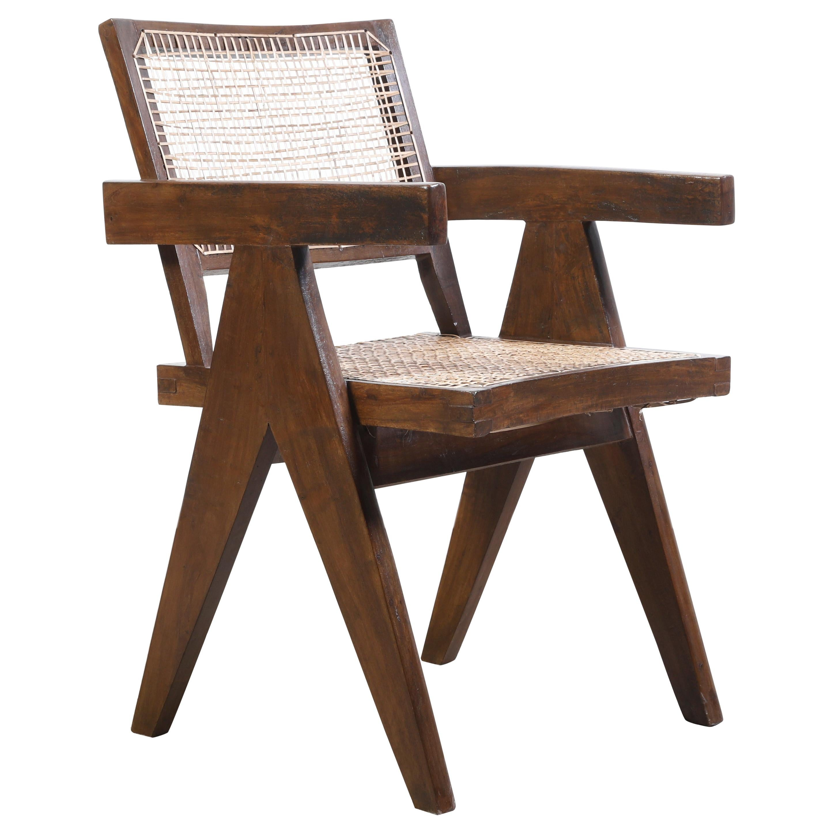 Pierre Jeanneret Office Cane Chair Authentic Mid-Century Modern Chandigarh
