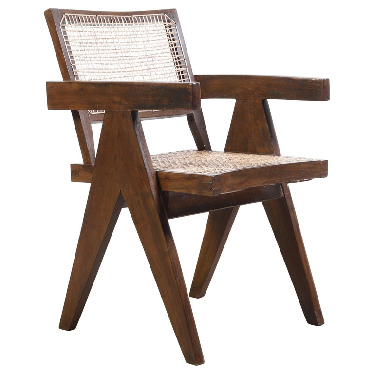 Pierre Jeanneret Office Cane Chair Authentic Mid-Century Modern Chandigarh For Sale