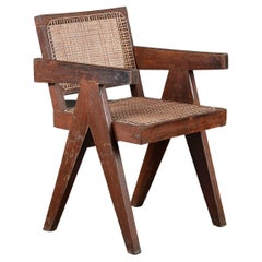 Pierre Jeanneret Office Cane Chair / Authentic Mid-Century Modern PJ-SI-28-B