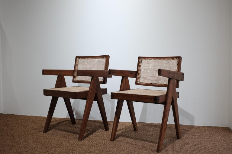 """Pierre Jeanneret (1896–1967)   Piece of Pierre Jeanneret """"Office cane chair""""  Chair structure with teak, seat, and back in cane.  Model designed for various administrative buildings in the city of Chandigarh, India, circa 1955.  Measures:"""