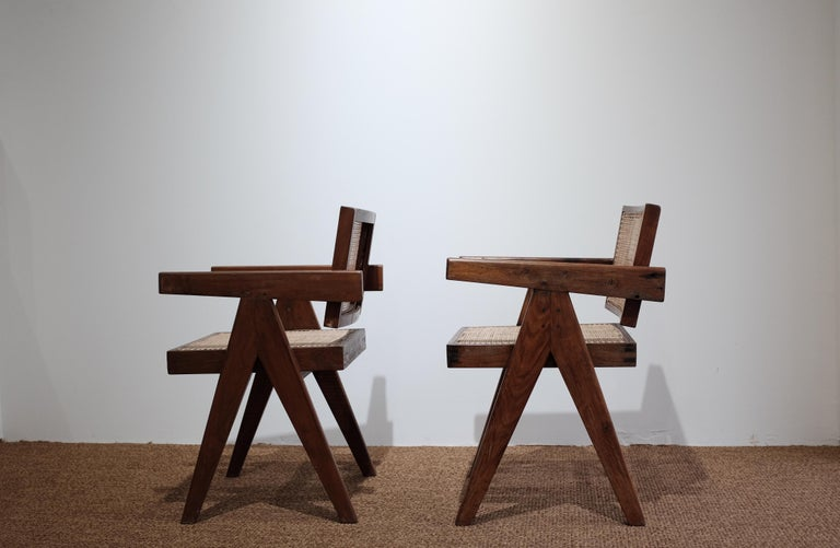 """Mid-Century Modern Pierre Jeanneret """"Office cane chair"""", Chandigarh For Sale"""