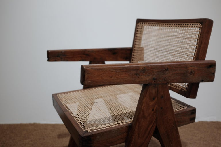 """Indian Pierre Jeanneret """"Office cane chair"""", Chandigarh For Sale"""