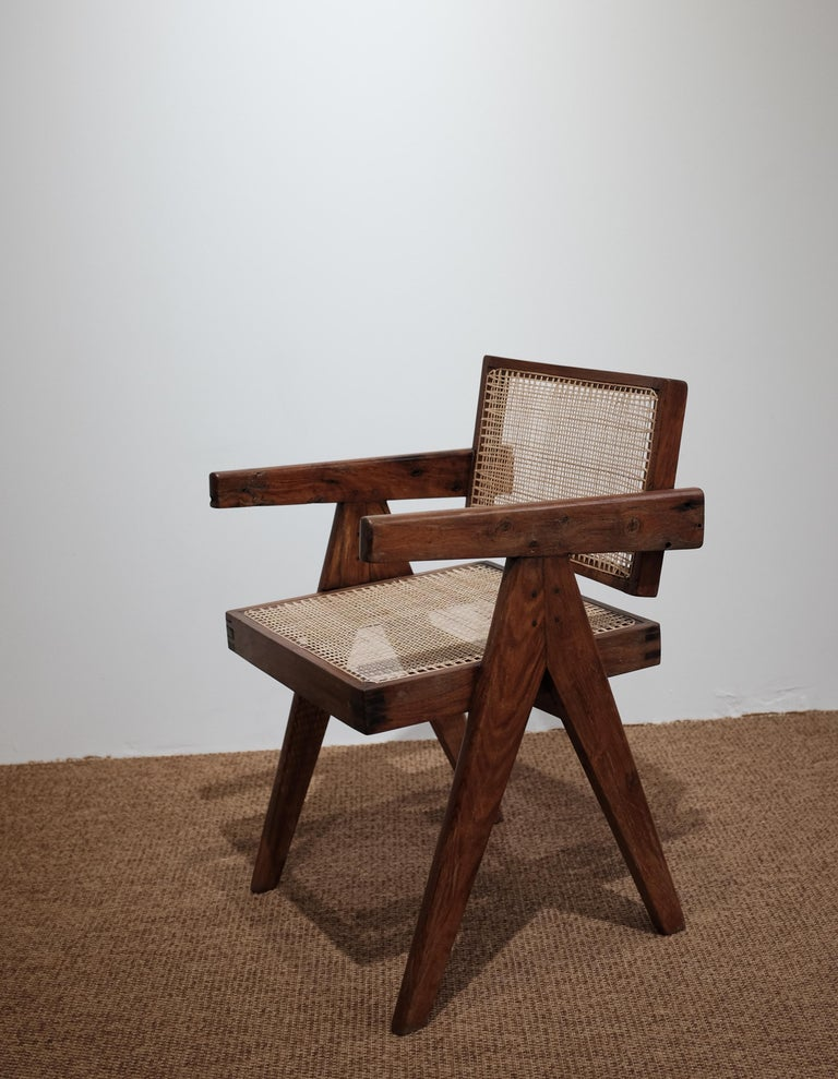 """Pierre Jeanneret """"Office cane chair"""", Chandigarh In Good Condition For Sale In Paris, FR"""