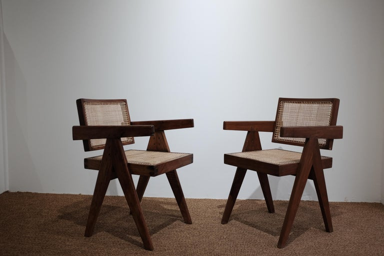 """Cane Pierre Jeanneret """"Office cane chair"""", Chandigarh For Sale"""