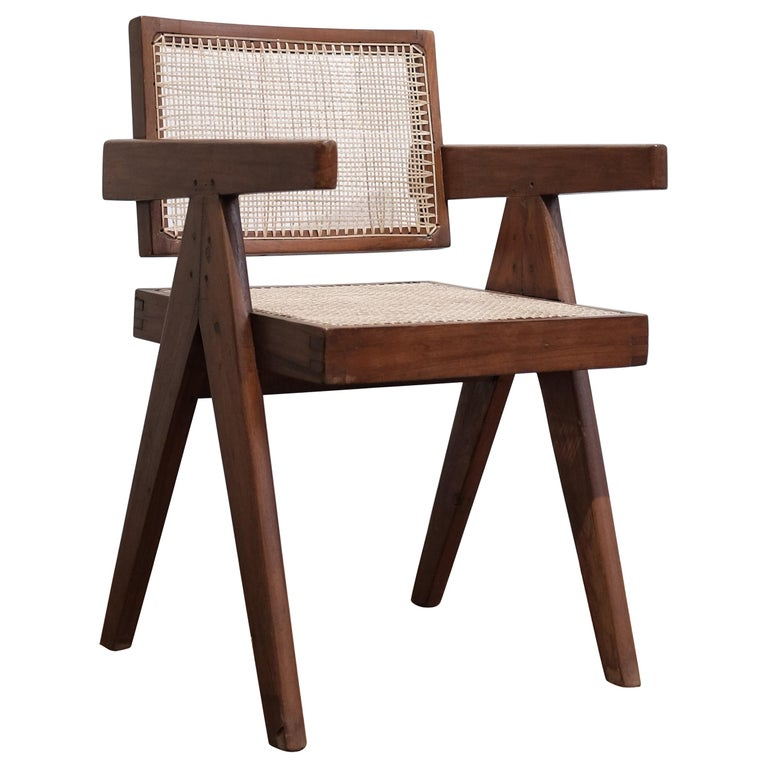"""Pierre Jeanneret """"Office cane chair"""", Chandigarh For Sale"""