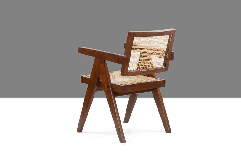 Mid-20th Century Pierre Jeanneret Office Cane Chair PJ-SI-28-A 'Authentic'