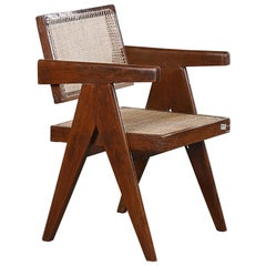 Pierre Jeanneret Office Cane Chair PJ-SI-28-A 'Authentic' with Letters