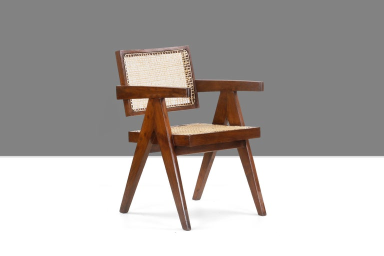 Mid-Century Modern Pierre Jeanneret Office Cane Chair PJ-SI-28-A