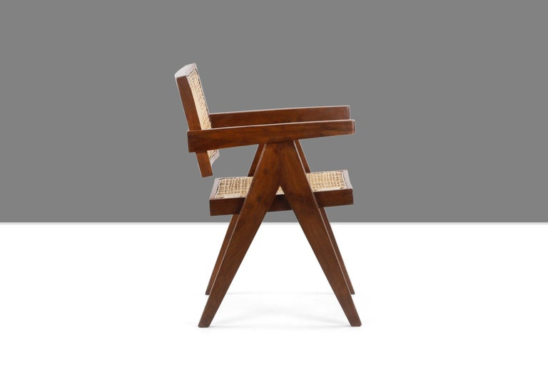 Indian Pierre Jeanneret Office Cane Chair PJ-SI-28-A