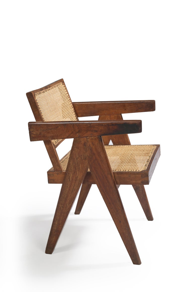 """Pierre Jeanneret PJ-SI-28-B  """"Office cane chair"""", circa 1955. Important: Vintage collector's item with guaranteed authenticity.  Back not separated from the seat. Solid teak, cane. From Chandigarh India: Architects'Office (1956), Secretariat"""