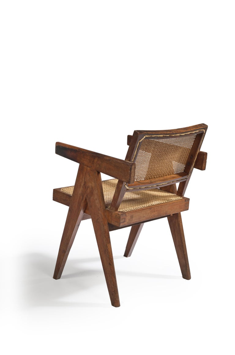 Indian Pierre Jeanneret, Office Cane Chair, PJ-SI-28-B, circa 1955 For Sale
